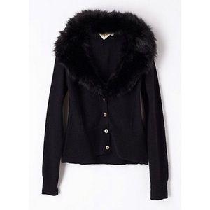 Anthropologie HWR Vedette Faux Fur Collar Cardigan